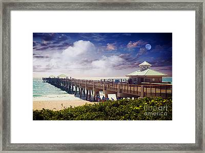 Juno Beach Pier Treasure Coast Florida Seascape Dawn C5a Framed Print by Ricardos Creations