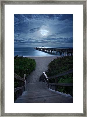 Juno Pier Stairs To Beach Under Full Moon Framed Print