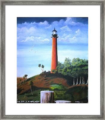 Jupiter Lighthouse And Pilings Framed Print