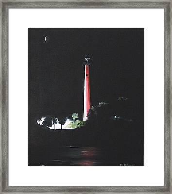 Jupiter Lighthouse At Night Framed Print