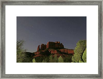 Jupiter Over Cathedral Rock At Midnight Framed Print by Donna Kennedy