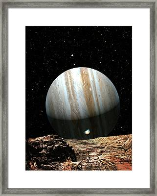 Jupiter Seen From Europa Framed Print by Don Dixon