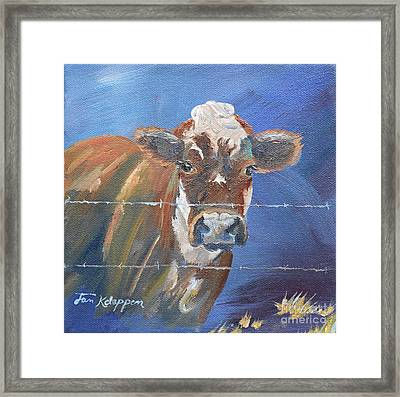 Framed Print featuring the painting Just A Big Happy Cow On A Little Square Canvas by Jan Dappen