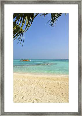 Just A Boat Ride Away Framed Print by Corinne Rhode