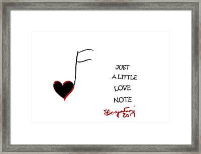 Just A Little Love Note Framed Print by Sharon Augustin