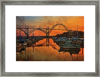 Just After Sunset On Yaquina Bay Framed Print by Thom Zehrfeld
