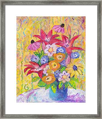 Just Because Bouquet Framed Print by Peggy Johnson