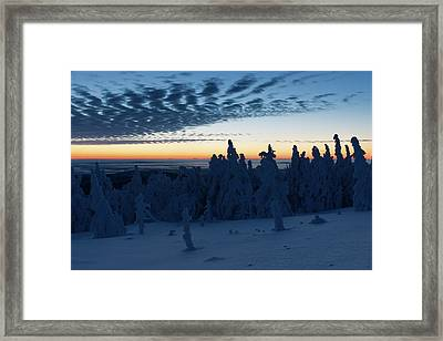Just Before Sunrise On The Brocken In The Harz Mountains Framed Print by Andreas Levi