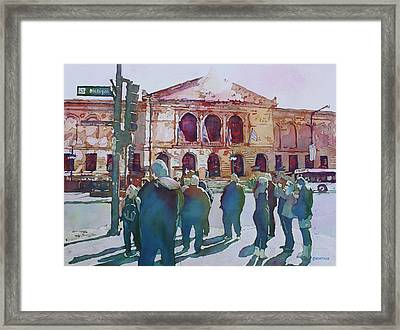 Just Before The Museum Opens Framed Print by Jenny Armitage