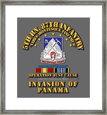 Just Cause - 5th Bn 87th Infantry W Svc Ribbons Framed Print by Tom Adkins
