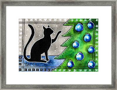 Just Counting Balls - Christmas Cat Framed Print