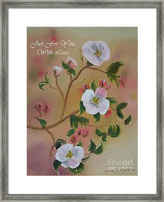 Just For You- Greeting Card -three Blooms Framed Print by Jan Dappen