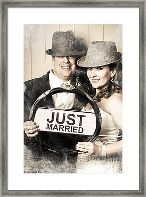 Just Married Bride And Groom Driving To Honeymoon Framed Print