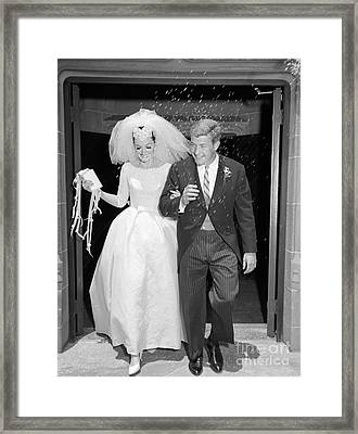 Just Married Couple Leaving Church, C Framed Print by H. Armstrong Roberts/ClassicStock