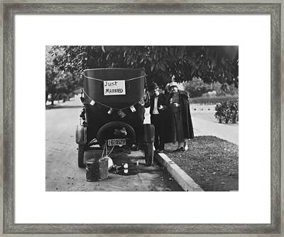 Just Married Silent Film Scene Framed Print by Underwood Archives