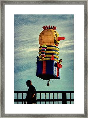 Just Passing Through  Hot Air Balloon Framed Print by Bob Orsillo