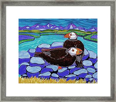 Just Puffin Around Framed Print by Julie Bourbeau