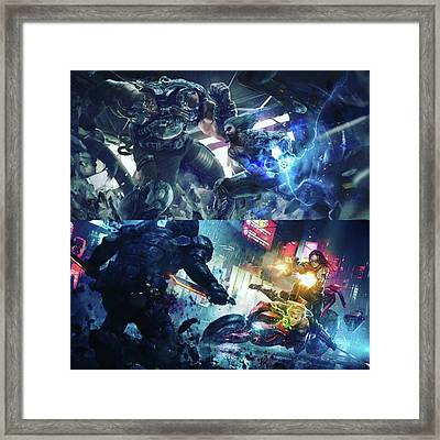 Just Some Cyberpunk Art Brought To You Framed Print