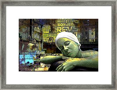 Just Swimming In New York City Framed Print by Jeff Burgess