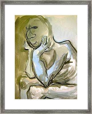Framed Print featuring the painting Just Thinking by Mary Schiros