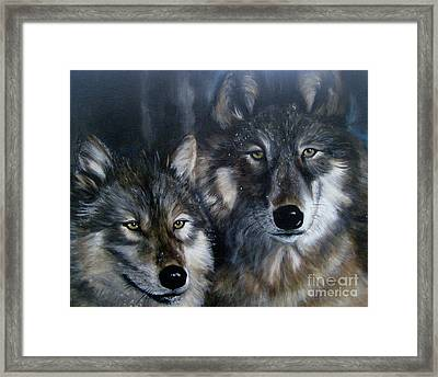 Just Us Two - Pair Of Snow Wolves Framed Print