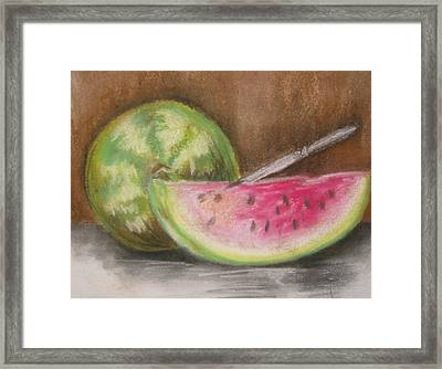 Just Watermelon Framed Print by Leslie Manley