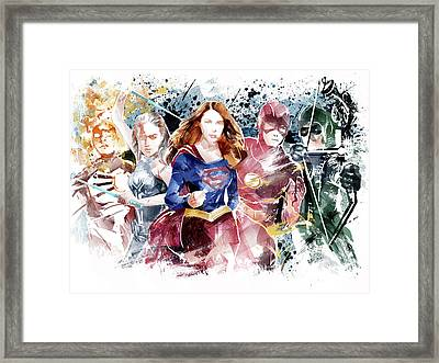 Justice League Framed Print by Unique Drawing