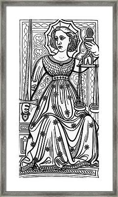 Justice Tarot Card Framed Print by Italian School