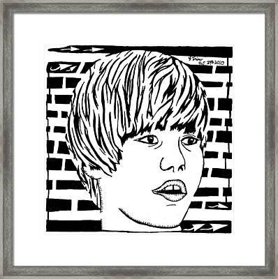 Justin Bieber Maze Portrait Framed Print by Yonatan Frimer Maze Artist