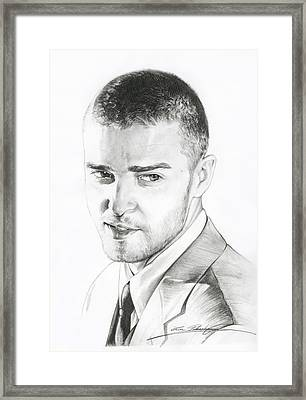 Justin Timberlake Drawing Framed Print by Lin Petershagen
