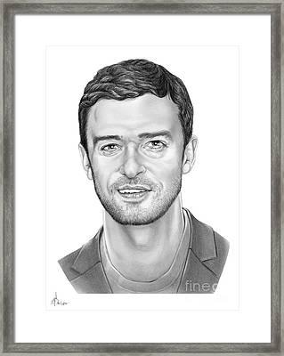 Justin Timberlake Framed Print by Murphy Elliott