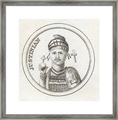 Justinian I Or Justinian The Great Framed Print by Vintage Design Pics