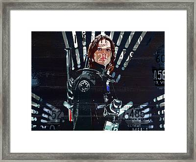 Jyn Erso Felicity Jones Rogue One Star Wars Fan Art In Recycled Vintage License Plates Framed Print by Design Turnpike