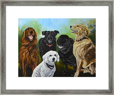 K-9 Group Dog Portrait Painting Framed Print by Sun Sohovich