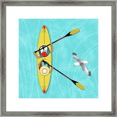 K Is For Kayak And Kittiwake Framed Print by Valerie Drake Lesiak