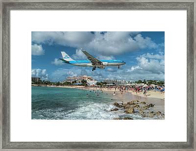 K L M A330 Landing At Sxm Framed Print