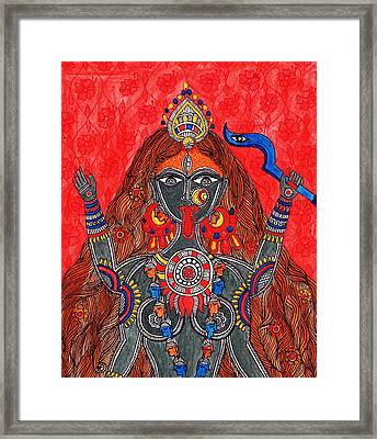 Kaali- The Fierce Form Framed Print by Shishu Suman