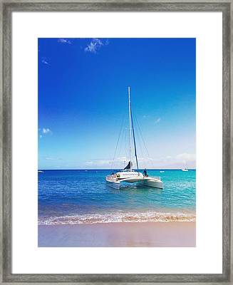 Kaanapali Sail In Maui Framed Print by Stacia Blase
