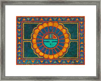 Kachina Sun Spirit Framed Print by Linda Henry