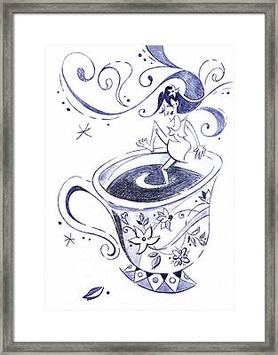 Kaffee - Arte Cafe - Coffee Cup Drawing Framed Print