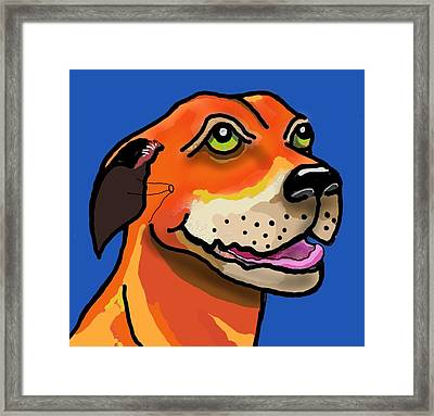 Kai With Blue Background Framed Print