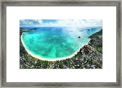Kailua - Lanikai Overview Framed Print by Sean Davey