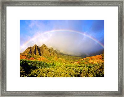 Kalalau Sunset Rainbow Kauai Framed Print