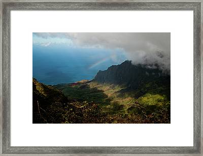 Kalalau Valley Rainbow Framed Print by Roger Mullenhour