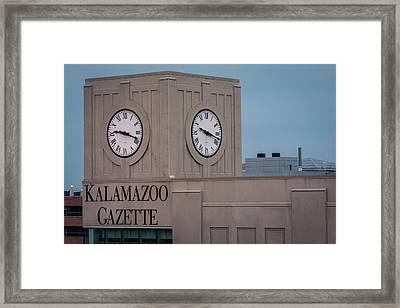 Kalamazoo Gazette Clock Tower Framed Print