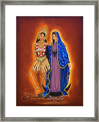 Kali And The Virgin Framed Print by James Roderick