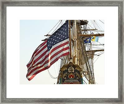 Kalmar Nyckel American Flag Framed Print