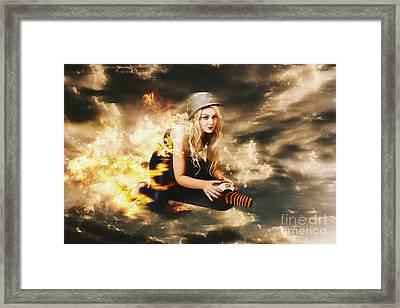 Kamakazi Pin-up Girl On Atomic Bomb Framed Print by Jorgo Photography - Wall Art Gallery