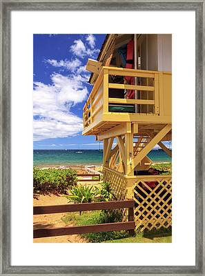 Framed Print featuring the photograph Kamaole Beach Lifeguard Tower by James Eddy