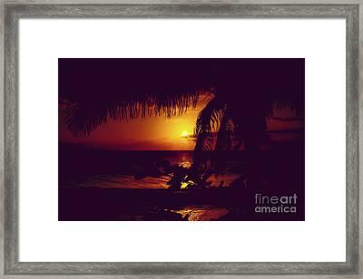 Kamaole Tropical Nights Sunset Gold Purple Palm Framed Print